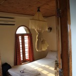 The bedroom in our houseboat