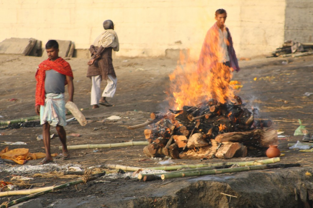 Public cremation at the burning ghat