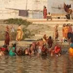 Pilgrims gather at sunrise for morning prayer