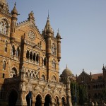 Mumbai's central train station, Victoria Terminus, at sunset