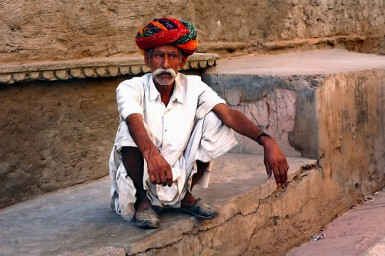 Turban coiled on the head of Rajasthani man