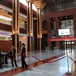 The slick lobby of the Lhasa train station