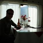 Ryan's morning Budweiser in the dining car