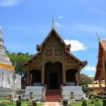 Buddhist Temples against a clear blue sky in Chiang Mai, Thailand