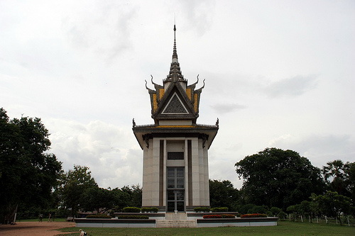 A Buddhist pagoda houses thousands of bones of the victims
