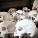 Piles of skulls from the thousands of victims buried at The Killing Fields