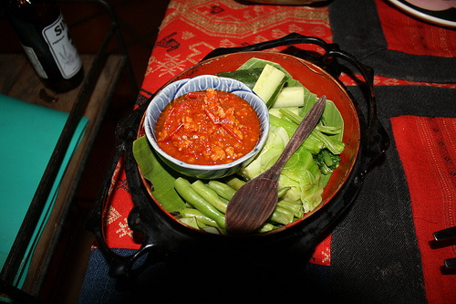 Smoked tomato and pepper salsa at Huen Phen restaurant