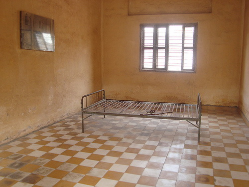 A high school classrom-turned-torture chamber at S21 Prison Camp