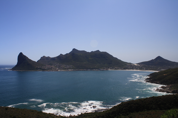 View of beautiful Hout Bay just outside of Cape Town, South Africa