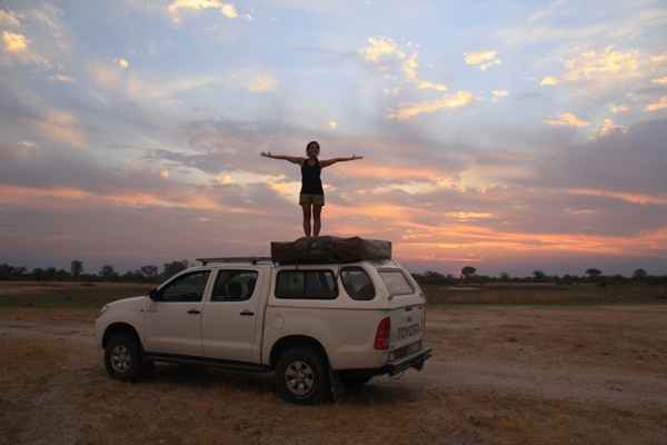 Taking in the breathtaking sunset in Moremi Game Reserve