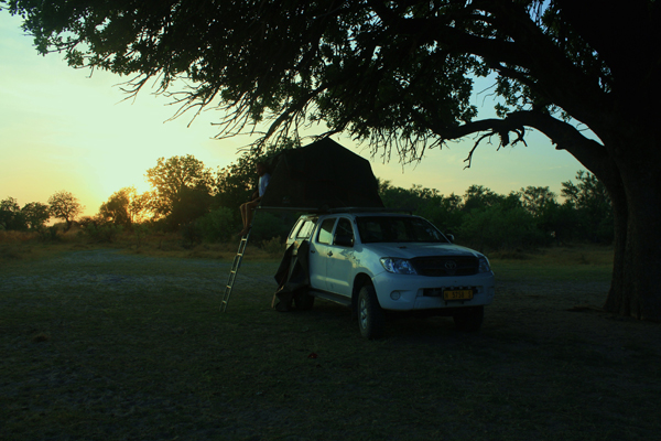 Pitching our tent for the night in Moremi Game Reserve, Botswana