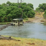 Facing deep water on the roads of Moremi Game Reserve