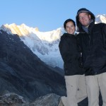 Standing proud atop Nepal's Annapurna Base Camp at sunrise