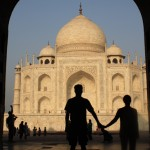 Taking in sunset together over the Taj Mahal