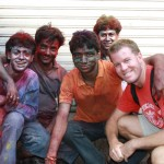 Ryan greets a group of Mumbaikers celebrating Holi Festival in India