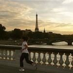 Running along the Seine on an evening run in Paris
