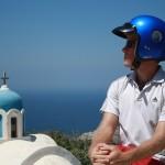 Pensive Scooter Rider in Santorini_Priceless