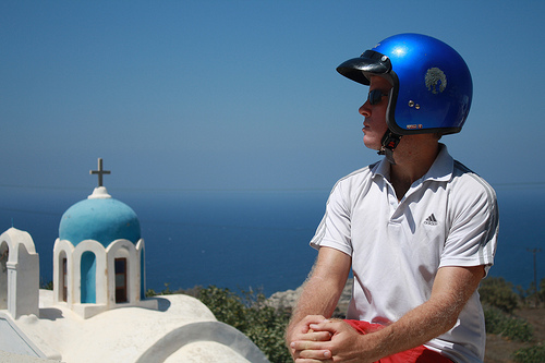 Pensive Scooter Rider in Santorini Priceless Our Travel ABCs