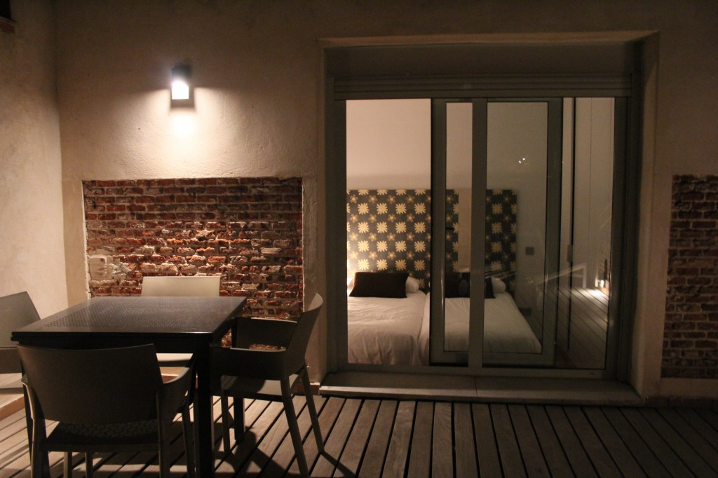 The terrace and bedroom view at night